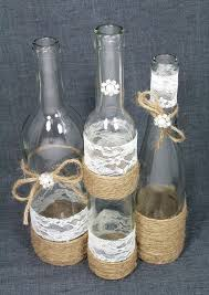 SET3 Decorated Wine Bottle Centerpiece Rustic Chic Ivory Silver Jute