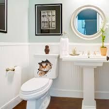 großhandel 3d katzen wandaufkleber auf der toilette aufkleber badezimmer wanddekoration tier vinyl aufkleber kunst wand poster wc aufkleber