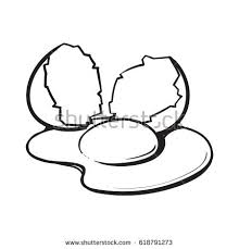 Cracked Broken And Spilled Chicken Egg Sketch Style Vector Illustration Isolated On White Background