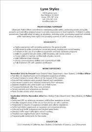Resume Templates Police Officer