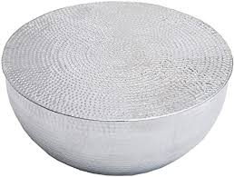 dunord design couchtisch wohnzimmertisch rund silber 60cm design alu tisch metall beistelltisch
