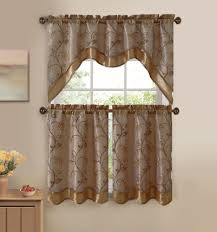 Full Size Of Kitchen 3 Piece Embroidered Window Curtain Set With Valance Beige And