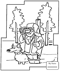 Coloring Pages For Kids Activities Hunter With Dog In The Winter