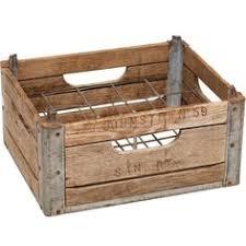 Antique Revival Vintage Style Large Wooden Milk Crate Aqua