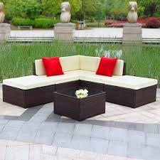 Outdoor Sectional Sofa Set by Brown Ikayaa 6pcs Outdoor Patio Garden Rattan Wicker Sectional