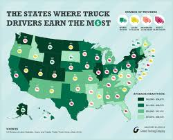 100 Highest Paid Truck Drivers How Much Do Make Salary By State MAP
