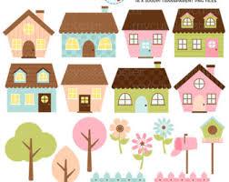Cute Houses Clipart Set