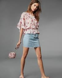 floral cinched waist ruffle blouse express
