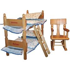 1950's Strombecker Bunk / Twin Beds, Bedding, Ladder & Rocking Chair For 8  Dolls