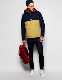 penfield shower proof elk overhead insulated jacket in blue for