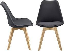 en casa 2er set design esszimmerstühle 97x42cm dunkelgrau stoffbezug polsterstuhl stühle wohnzimmerstuhl küchenstuhl