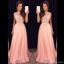 2017 long prom dresses plus size new pink chiffon illusion lace