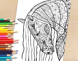 Adult Coloring Book Page Beautiful Stallion For To