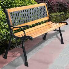 Details About 49 12 Patio Park Garden Bench Porch Path Chair Outdoor Deck Cast Iron Hardwood