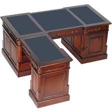 meuble bureau d angle bureau d angle style anglais en acajou plateau noir cambridge