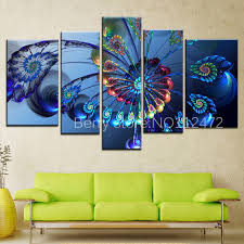 Diy 5pcs Set Modern 5d Diamond Painting Canvas Landscape Abstract Art Blue Peacock Wall Picture For Embroidery Home Decor In Cross