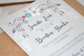 Boho Chic Feather Floral Wedding Invitations Rustic Shabby Invite Bohemian