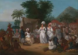 A Linen Market With Stall And Vegetable Seller In The West Indies By