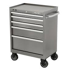 Husky Wet Tile Saw by Husky 27 In W 5 Drawer Tool Cabinet Metallic Silver H5tr2leg