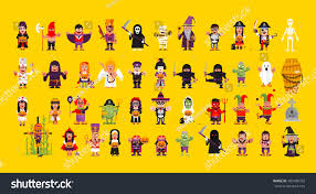 Characters For Halloween by Stock Vector Set Characters Halloween Flat Stock Vector 483180793