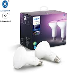 philips hue white and color ambiance 2 pack br30 led smart bulb bluetooth zigbee compatible hue hub optional works with assistant