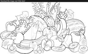 Vector Of Fruits And Vegetables For Coloring Book