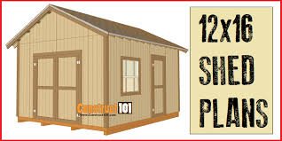 12x16 Gambrel Shed Kits by 12x16 Shed Plans Gable Design Construct101
