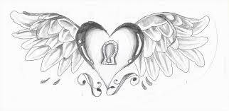 Clip Cool Drawings Of Hearts With Roses And Wings Art Library How To Draw Heart U
