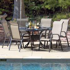 Sling Back Stackable Patio Chairs by Madison Bay 7 Piece Sling Patio Dining Set With Stacking Chairs