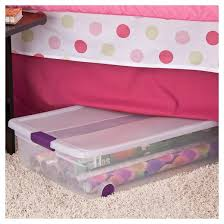 sterilite clearview latch underbed storage bin clear with purple