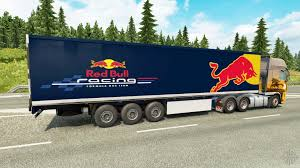 100 Redbull Truck Skin Red Bull On The Trailer For Euro Simulator 2