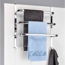 handtuch halter für die tür mit 3 stangen und 2 haken chrom 56 x 49 x 25 cm