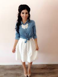 How To Styling A White Skirt Modest Summer Outfits Featuring