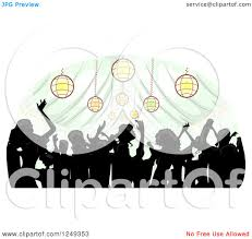 Clipart Of A Silhouetted Crowd Dancing Inside Wedding Reception Party Tent