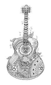 Hippy Guitar Coloring Page