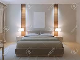 moderne schlafzimmer design gekleidet doppelbett mit lether kopfteil weiße wände mit dekorativen nische aus hellem holz textur in der nähe