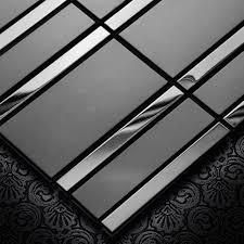 schwarz metall edelstahl mosaik fliesen tv hintergrund wand wohnzimmer veranda esszimmer wand fliesen
