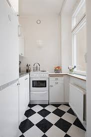 kitchen striking narrow space kitchen with black and white