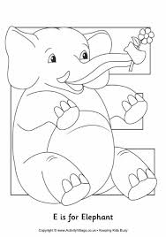 E Is For Elephant Colouring Page