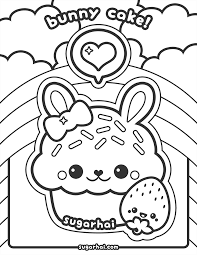 Free Bunny Cake Coloring Page