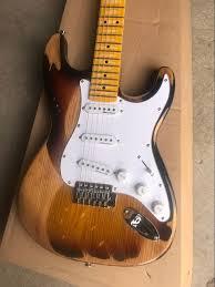 Firehawk Custom Shop Relic Brown Strat Standard Elm Body Vintage Tuners Stratocaster Electric Guitar SSS Pickups
