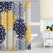 Yellow And Gray Bathroom Decor by Navy Blue And Yellow Shower Curtain Floral Shower Curtain