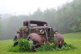 Vintage Truck As A Flower Pot