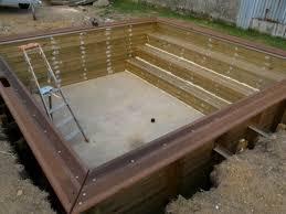 margelle piscine en bois piscine bois piscinelle 4 x 4 m enterrée piscine
