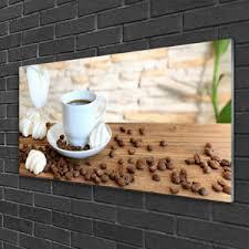 details zu tulup glasbilder wandbild dekobild 100x50 tasse kaffee kaffeebohnen küche