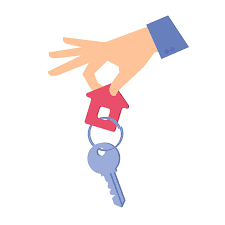 Human Hand Is Giving A Key With Keychain Vector Art Illustration