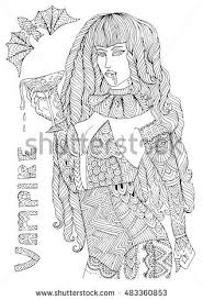Vector Hand Drawn Female Vampire In Sexy Costume Holding A Glass Of Dripping Blood Halloween