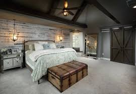 Shiplap Bedroom Accent Wall Farmhouse With Vaulted Ceiling Barn Doors And Whitewashed