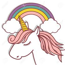 Cute Unicorn And Rainbow Icon Over White Background Colorful Design Vector Illustration Stock