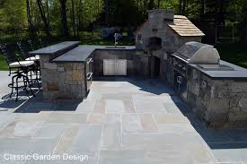 Patio with Outdoor Kitchen Pizza Oven and Bar Weston CT